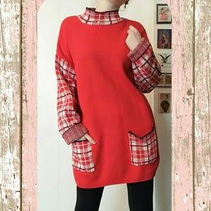 Dresses & Skirts - Cute chunky oversized red vintage sweater dress